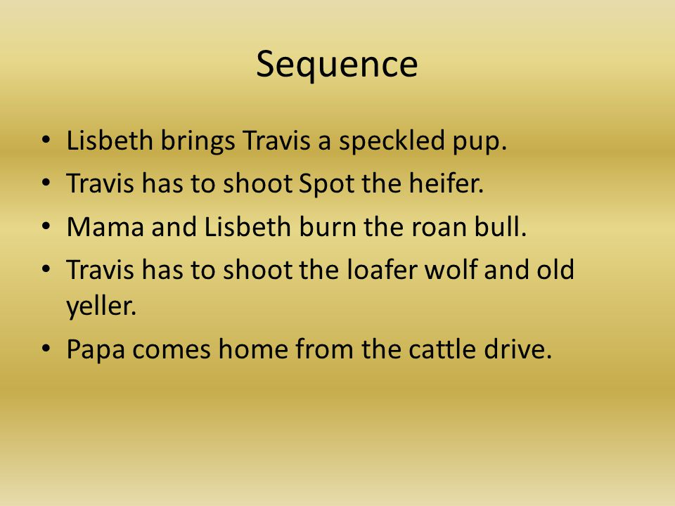 Sequence Lisbeth brings Travis a speckled pup. Travis has to shoot Spot the heifer. Mama and Lisbeth burn the roan bull. Travis has to shoot the loafe