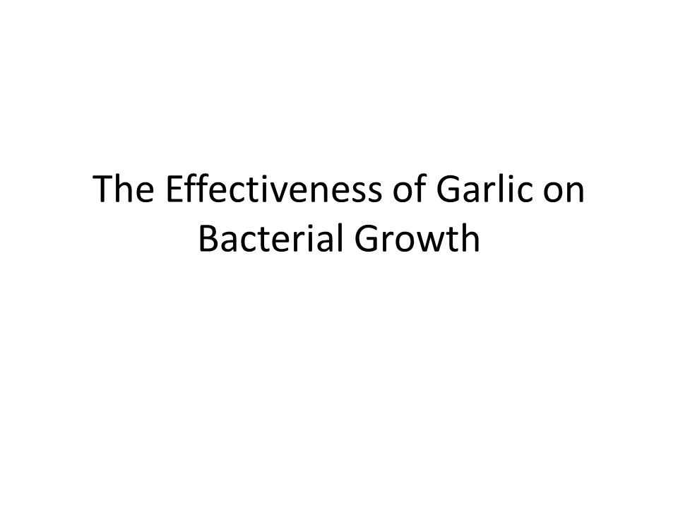 The Effectiveness of Garlic on Bacterial Growth