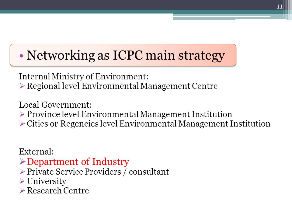 Networking as ICPC main strategy Internal Ministry of Environment:  Regional level Environmental Management Centre Local Government:  Province level Environmental Management Institution  Cities or Regencies level Environmental Management Institution External:  Department of Industry  Private Service Providers / consultant  University  Research Centre 11