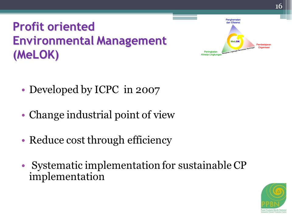 Profit oriented Environmental Management (MeLOK) Developed by ICPC in 2007 Change industrial point of view Reduce cost through efficiency Systematic implementation for sustainable CP implementation 16