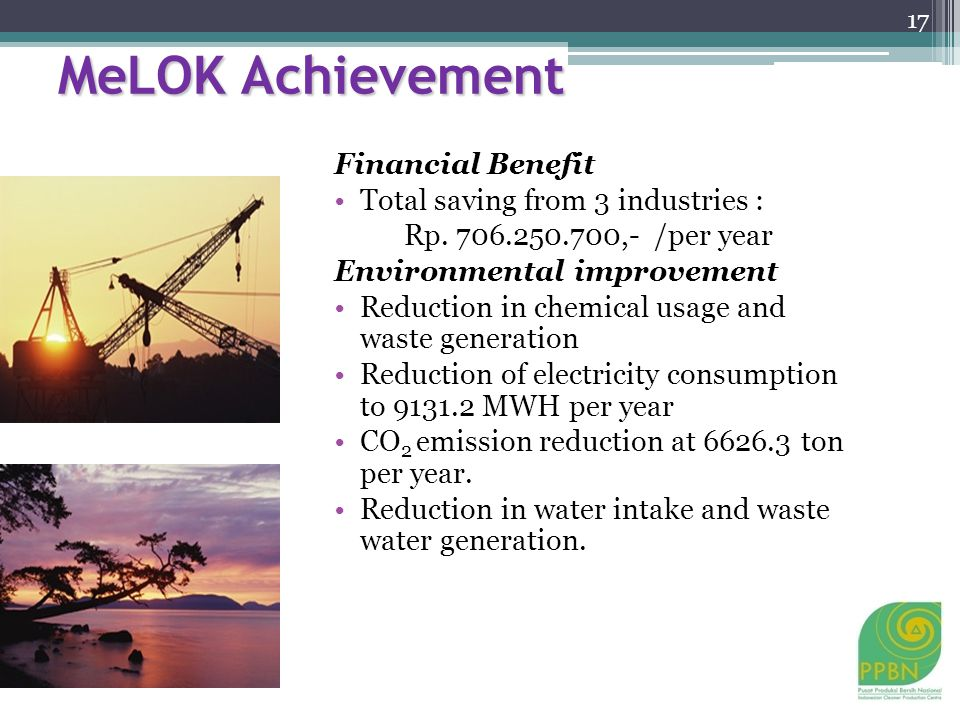 MeLOK Achievement Financial Benefit Total saving from 3 industries : Rp.