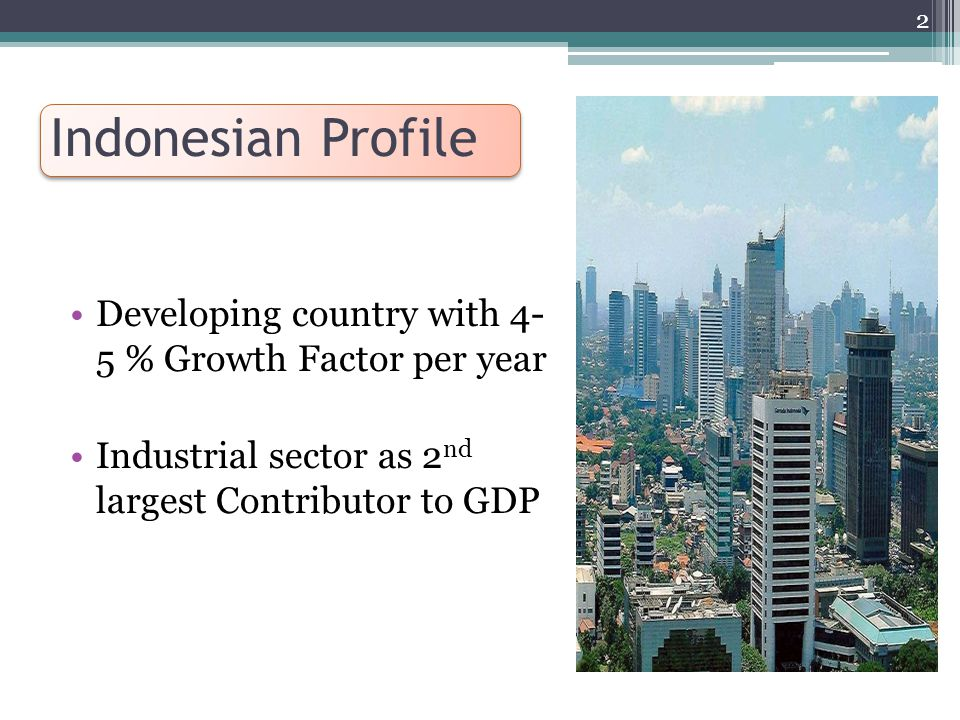Indonesian Profile Developing country with 4- 5 % Growth Factor per year Industrial sector as 2 nd largest Contributor to GDP 2