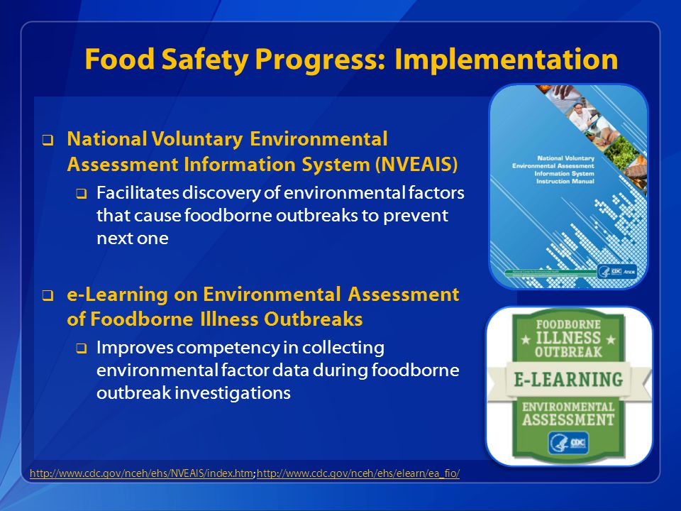 Food Safety Progress: Implementation  National Voluntary Environmental Assessment Information System (NVEAIS)  Facilitates discovery of environmenta