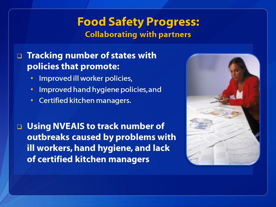  Tracking number of states with policies that promote: Improved ill worker policies, Improved hand hygiene policies, and Certified kitchen managers.