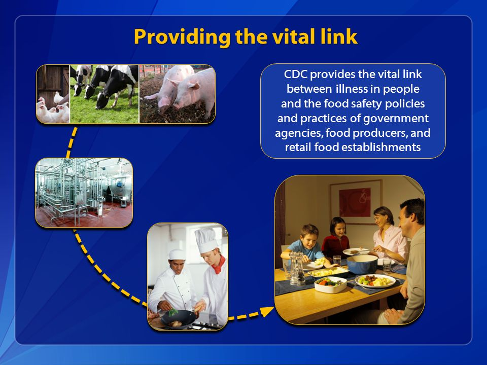 Providing the vital link CDC provides the vital link between illness in people and the food safety policies and practices of government agencies, food