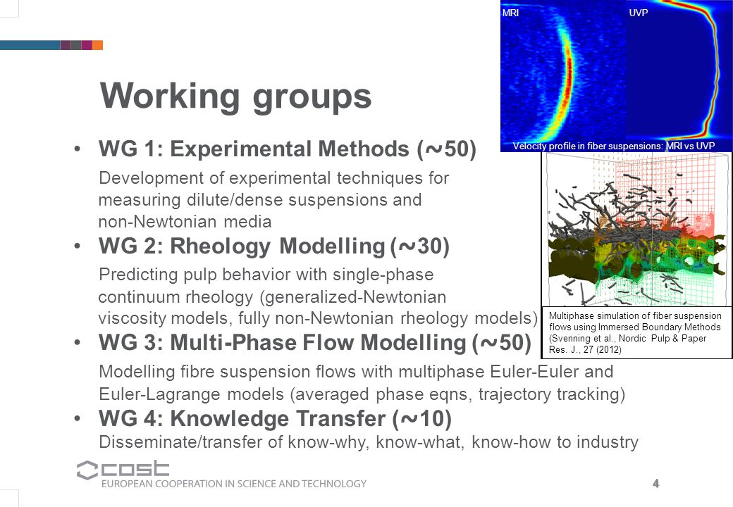 4 Working groups WG 1: Experimental Methods ( ~ 50) Development of experimental techniques for measuring dilute/dense suspensions and non-Newtonian media WG 2: Rheology Modelling ( ~ 30) Predicting pulp behavior with single-phase continuum rheology (generalized-Newtonian viscosity models, fully non-Newtonian rheology models) WG 3: Multi-Phase Flow Modelling ( ~ 50) Modelling fibre suspension flows with multiphase Euler-Euler and Euler-Lagrange models (averaged phase eqns, trajectory tracking) WG 4: Knowledge Transfer ( ~ 10) Disseminate/transfer of know-why, know-what, know-how to industry OCT image of micro fibrillated cellulose Multiphase simulation of fiber suspension flows using Immersed Boundary Methods (Svenning et al., Nordic Pulp & Paper Res.