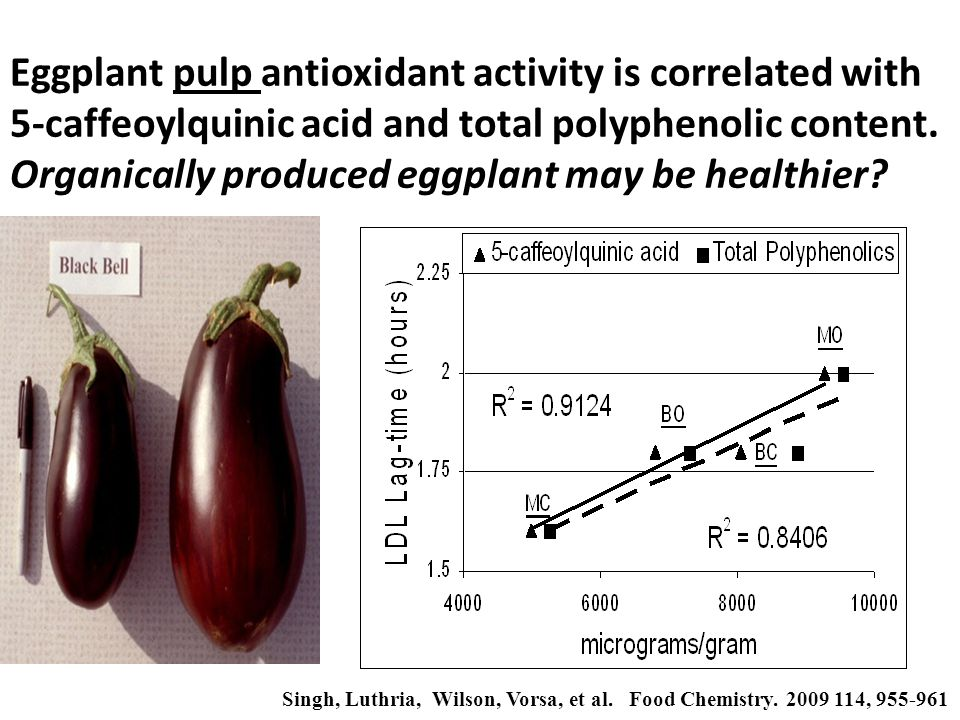 Eggplant pulp antioxidant activity is correlated with 5-caffeoylquinic acid and total polyphenolic content.