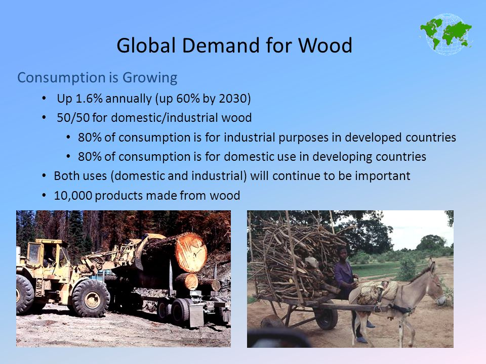 Global Demand for Wood Consumption is Growing Up 1.6% annually (up 60% by 2030) 50/50 for domestic/industrial wood 80% of consumption is for industria