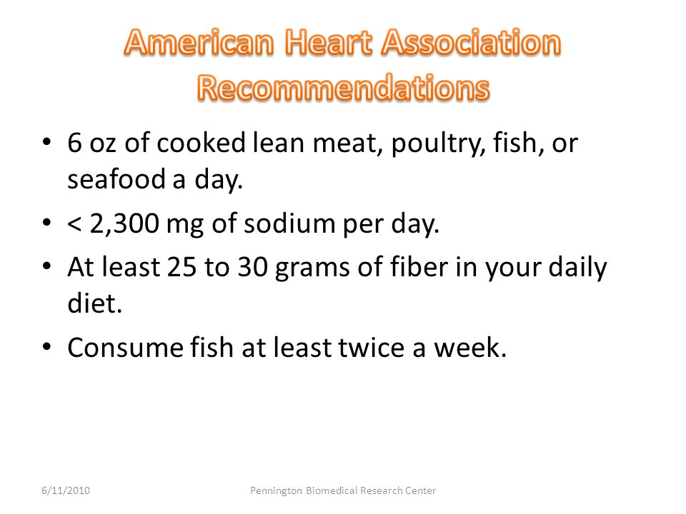 6 oz of cooked lean meat, poultry, fish, or seafood a day.