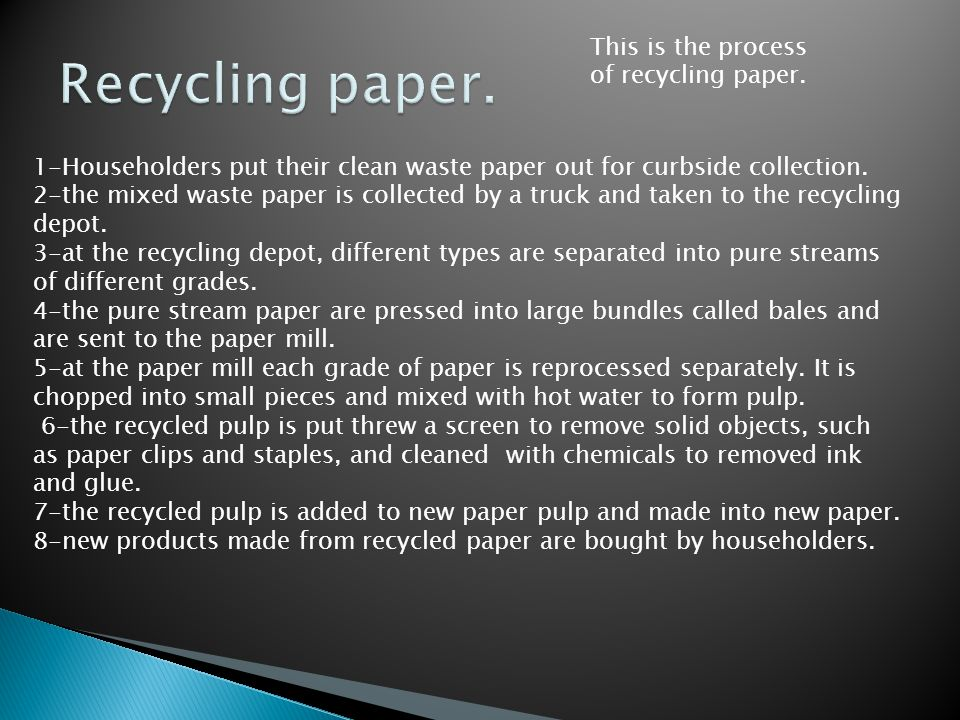 This is the process of recycling paper.