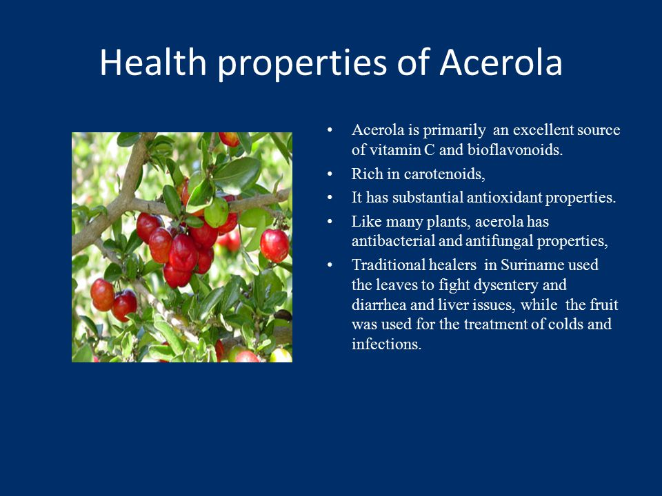 Health properties of Acerola Acerola is primarily an excellent source of vitamin C and bioflavonoids.