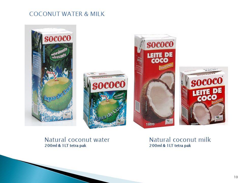 10 Natural coconut water 200ml & 1LT tetra pak Natural coconut milk 200ml & 1LT tetra pak COCONUT WATER & MILK