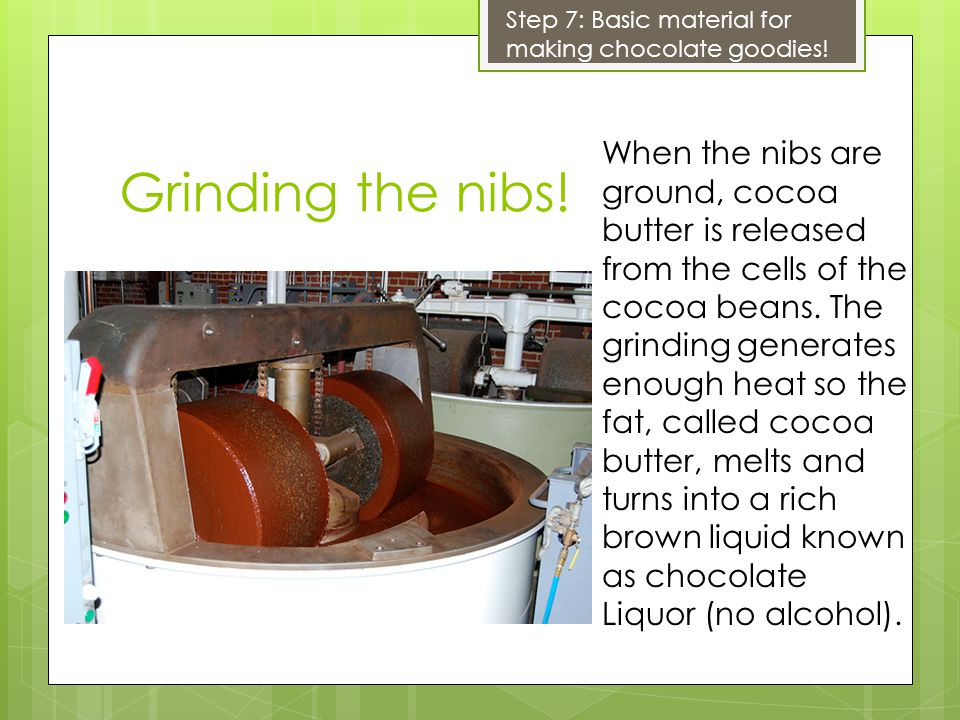 Grinding the nibs.