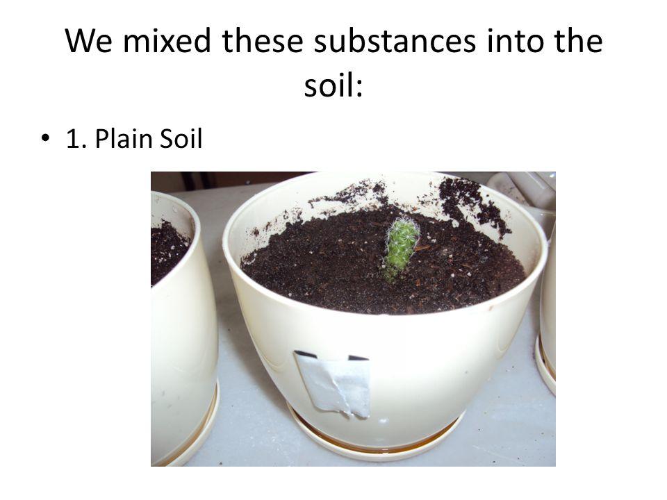 We mixed these substances into the soil: 1. Plain Soil
