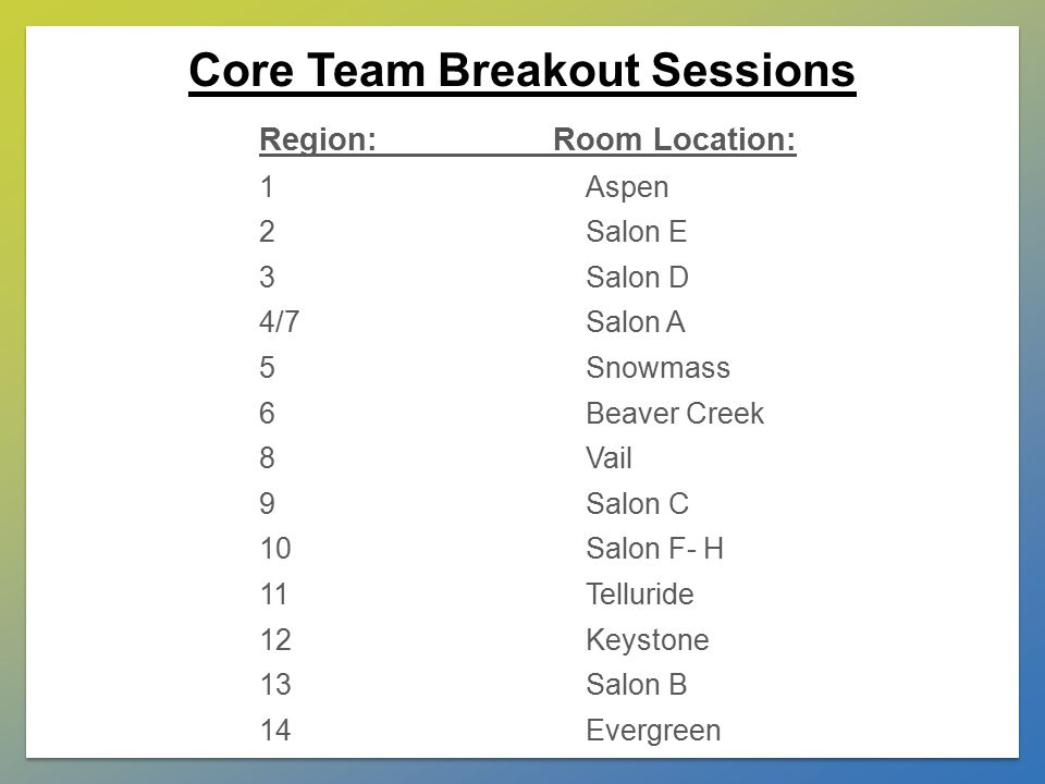 Core Team Breakout Sessions Region: Room Location: 1Aspen 2Salon E 3Salon D 4/7Salon A 5Snowmass 6Beaver Creek 8Vail 9Salon C 10Salon F- H 11Telluride 12Keystone 13Salon B 14Evergreen