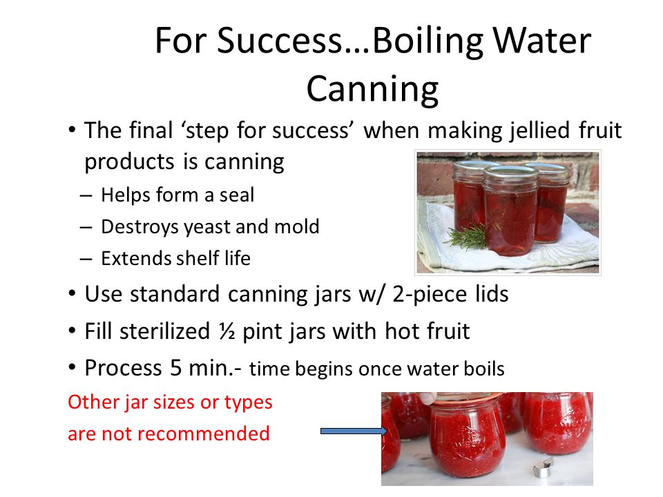 For Success…Boiling Water Canning The final 'step for success' when making jellied fruit products is canning – Helps form a seal – Destroys yeast and mold – Extends shelf life Use standard canning jars w/ 2-piece lids Fill sterilized ½ pint jars with hot fruit Process 5 min.- time begins once water boils Other jar sizes or types are not recommended