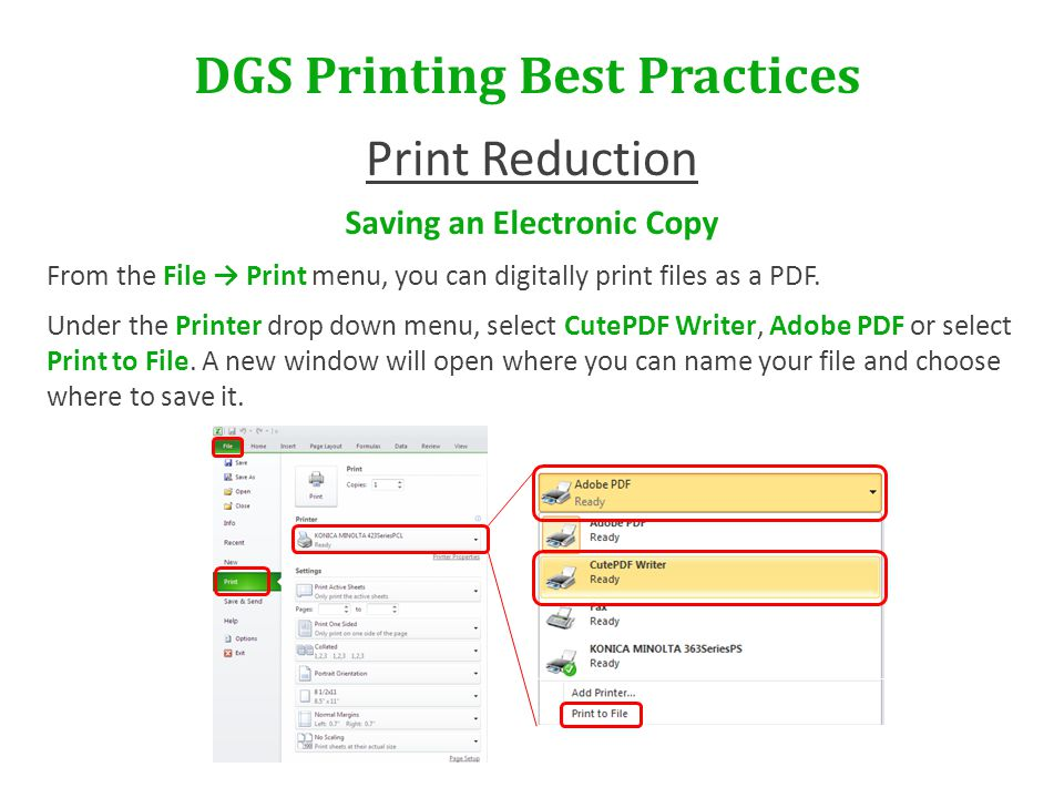 DGS Printing Best Practices Print Reduction Saving an Electronic Copy From the File → Print menu, you can digitally print files as a PDF.