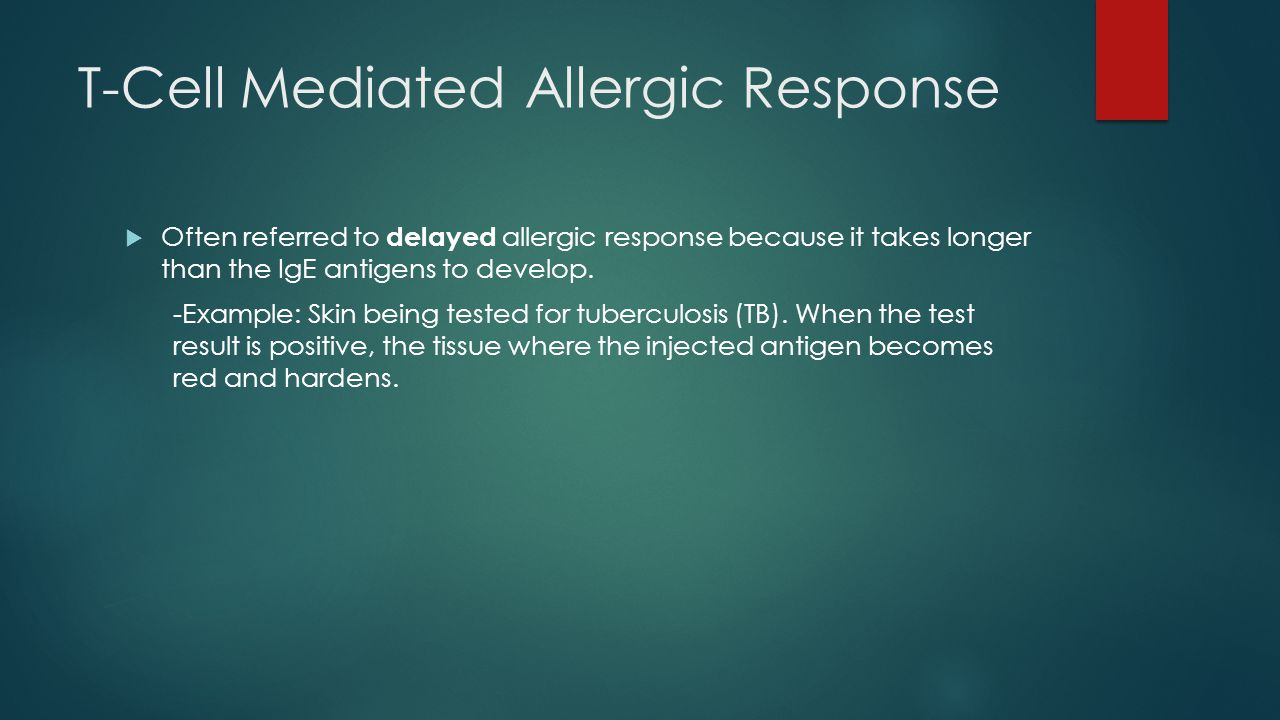 T-Cell Mediated Allergic Response  Often referred to delayed allergic response because it takes longer than the IgE antigens to develop.