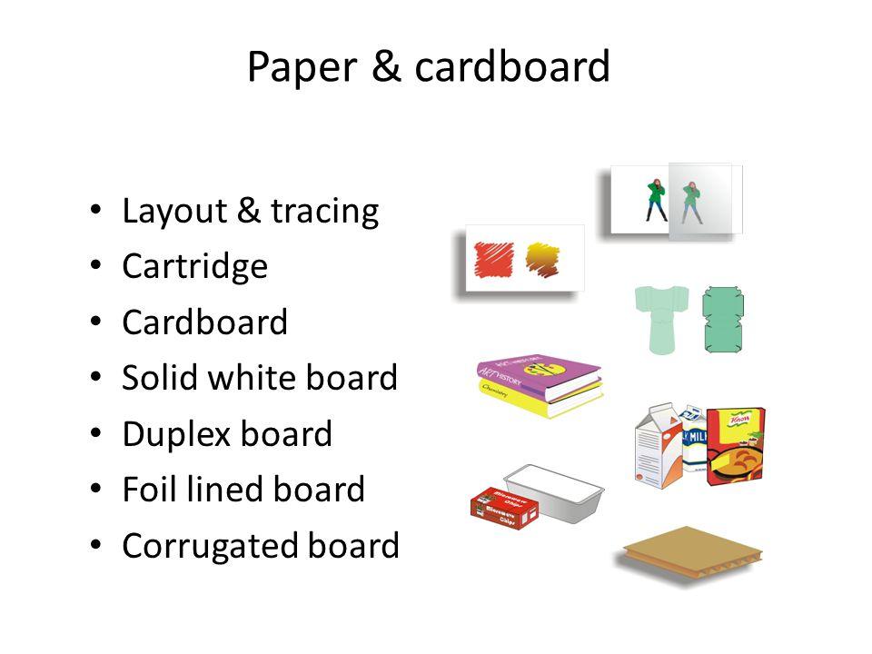 Paper & cardboard Layout & tracing Cartridge Cardboard Solid white board Duplex board Foil lined board Corrugated board