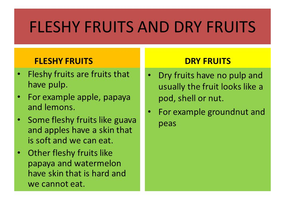 FLESHY FRUITS AND DRY FRUITS FLESHY FRUITS Fleshy fruits are fruits that have pulp.