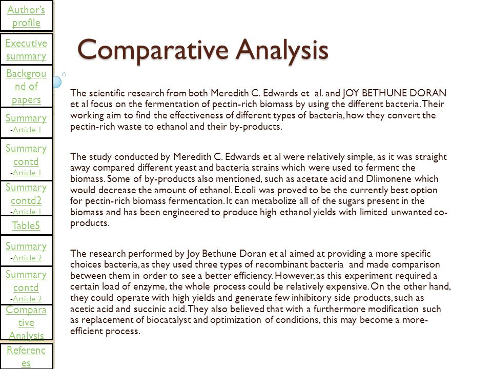 Comparative Analysis The scientific research from both Meredith C.