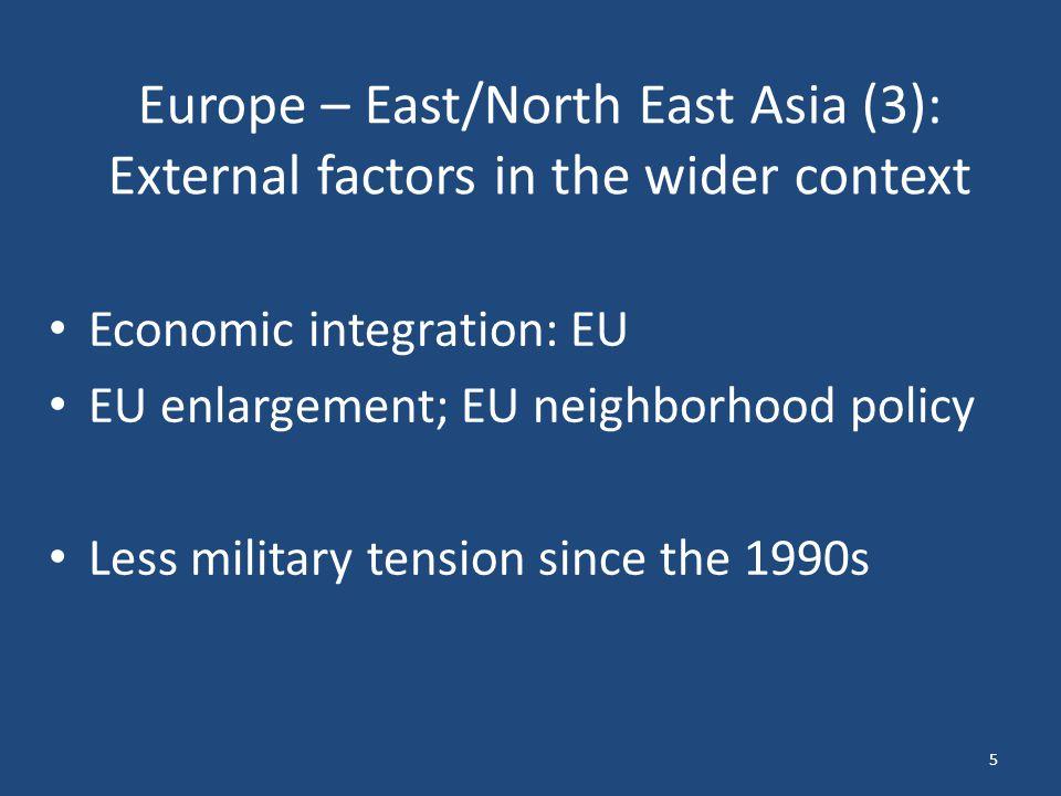 Europe – East/North East Asia (3): External factors in the wider context Economic integration: EU EU enlargement; EU neighborhood policy Less military