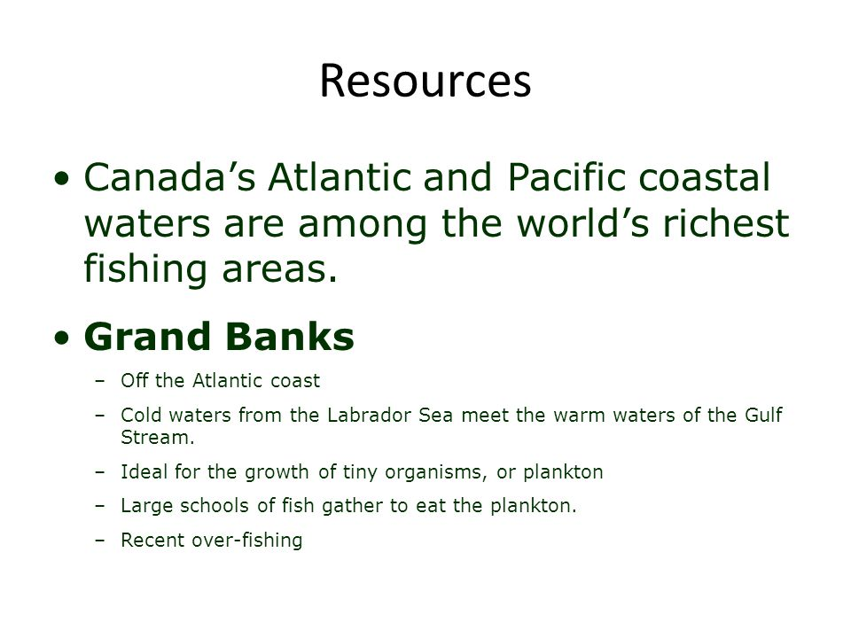 Resources Canada's Atlantic and Pacific coastal waters are among the world's richest fishing areas. Grand Banks –Off the Atlantic coast –Cold waters f