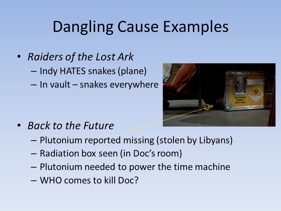 Dangling Cause Examples Raiders of the Lost Ark – Indy HATES snakes (plane) – In vault – snakes everywhere Back to the Future – Plutonium reported mis