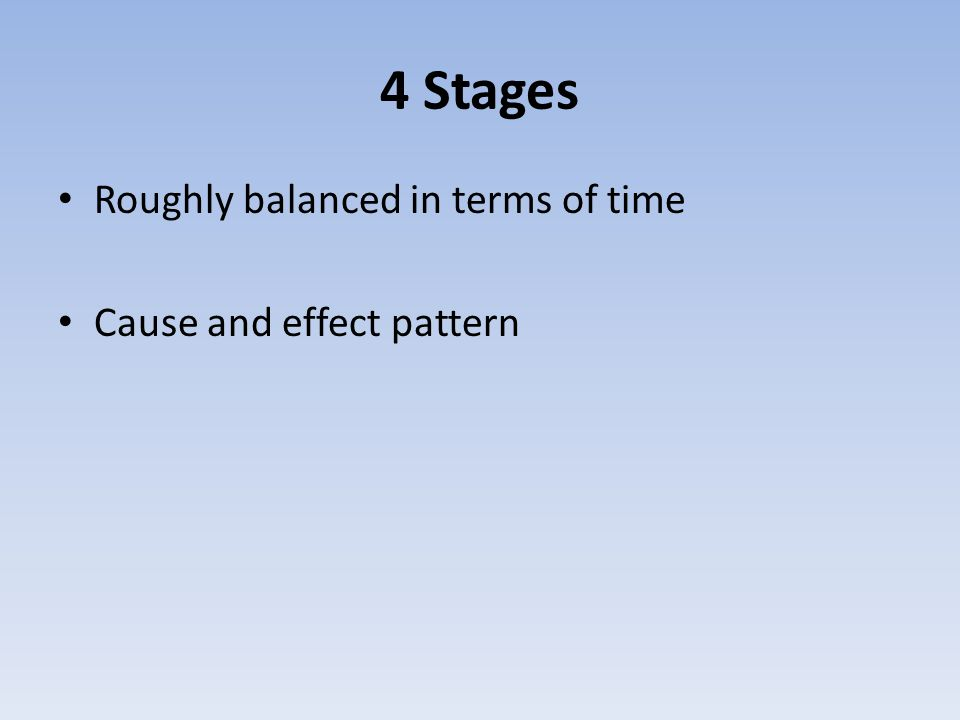 4 Stages Roughly balanced in terms of time Cause and effect pattern
