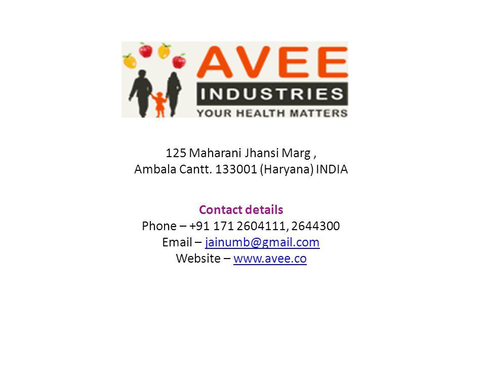 125 Maharani Jhansi Marg, Ambala Cantt. 133001 (Haryana) INDIA Contact details Phone – +91 171 2604111, 2644300 Email – jainumb@gmail.comjainumb@gmail