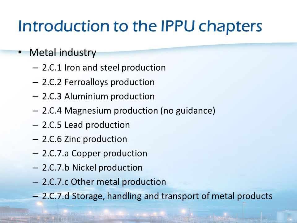 Introduction to the IPPU chapters Solvent and other product use – 2.D.3.a Domestic solvent use including fungicides – 2.D.3.b Road paving with asphalt – 2.D.3.c Asphalt roofing – 2.D.3.d Coating applications – 2.D.3.e Degreasing – 2.D.3.f Dry cleaning – 2.D.3.g Chemical products – 2.D.3.h Printing – 2.D.3.i, 2.G Other solvent and product use