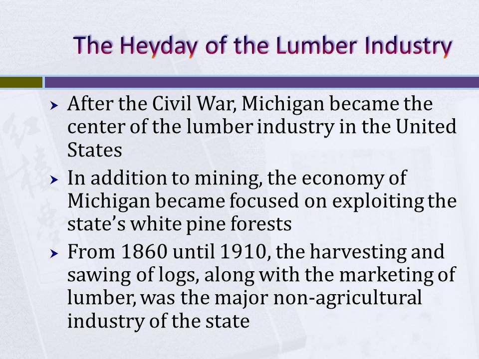  After the Civil War, Michigan became the center of the lumber industry in the United States  In addition to mining, the economy of Michigan became focused on exploiting the state's white pine forests  From 1860 until 1910, the harvesting and sawing of logs, along with the marketing of lumber, was the major non-agricultural industry of the state