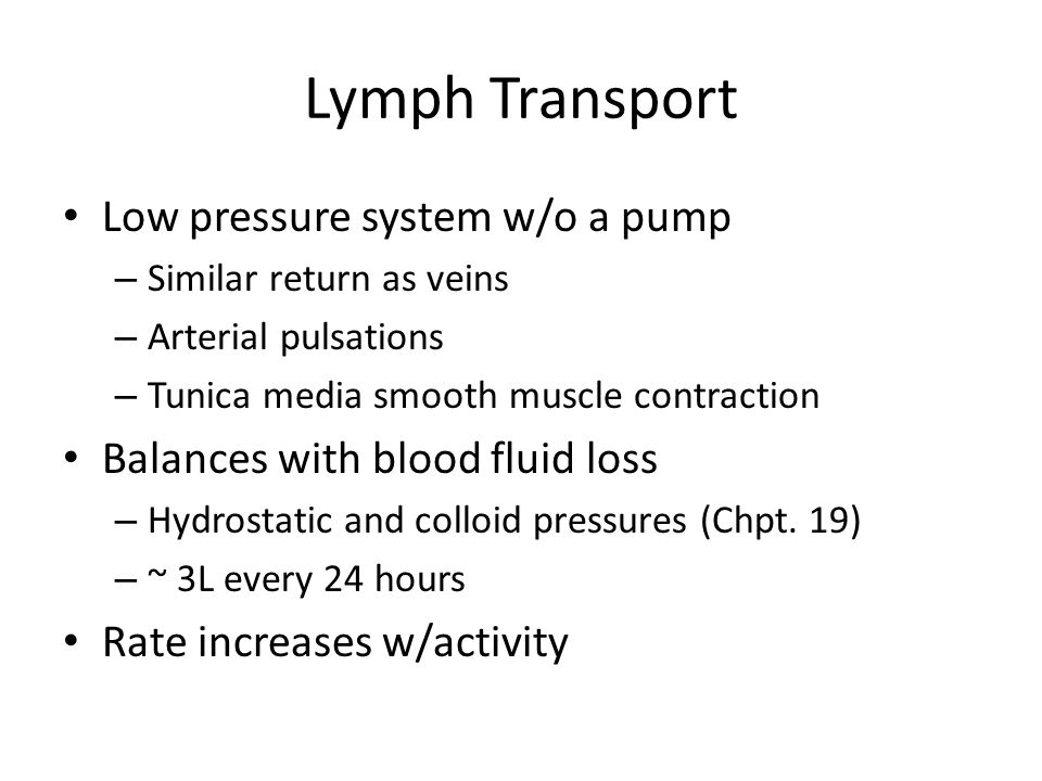 Lymph Transport Low pressure system w/o a pump – Similar return as veins – Arterial pulsations – Tunica media smooth muscle contraction Balances with blood fluid loss – Hydrostatic and colloid pressures (Chpt.