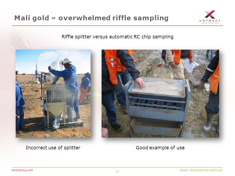 Xstract - Excellence from the Outset XstractGroup.com Mali gold – overwhelmed riffle sampling 12 Riffle splitter versus automatic RC chip sampling Good example of use Incorrect use of splitter