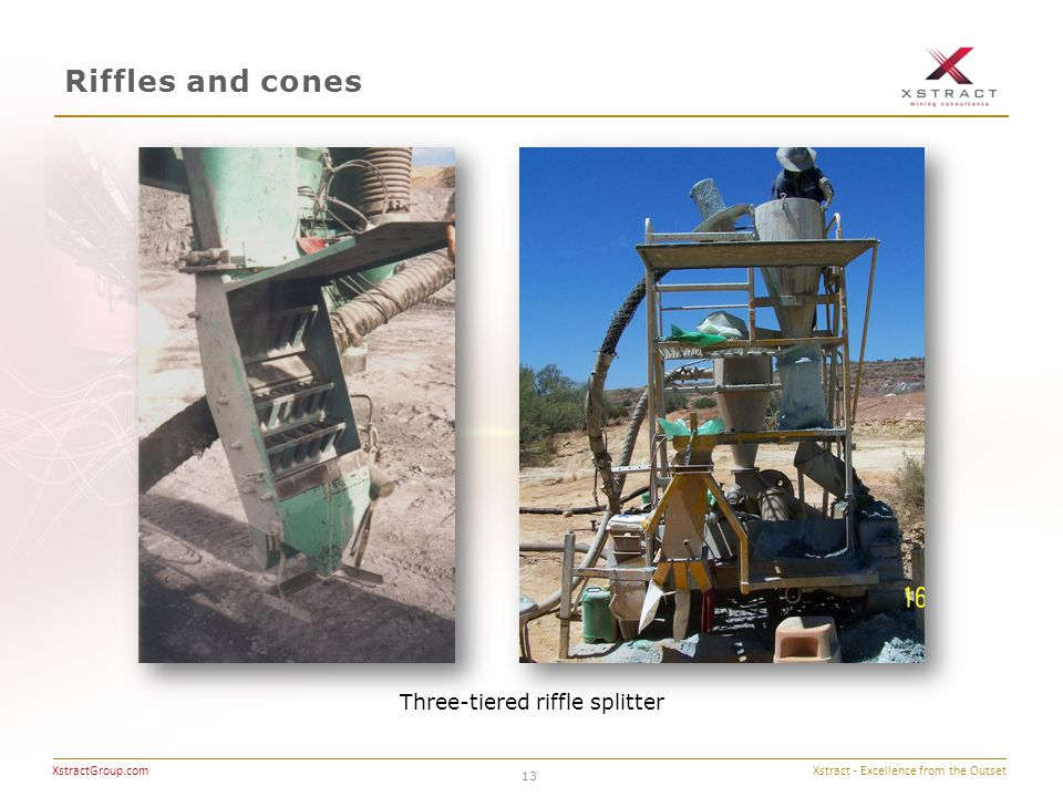 Xstract - Excellence from the Outset XstractGroup.com Riffles and cones 13 Three-tiered riffle splitter