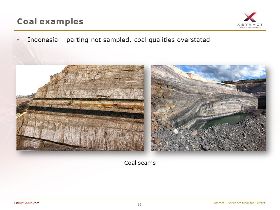 Xstract - Excellence from the Outset XstractGroup.com Coal examples 16 Indonesia – parting not sampled, coal qualities overstated Coal seams