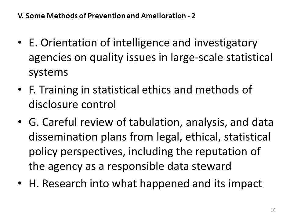V. Some Methods of Prevention and Amelioration - 2 E.