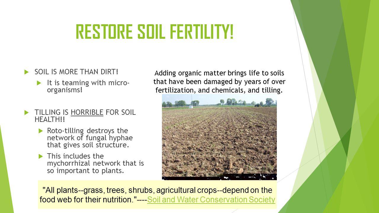 RESTORE SOIL FERTILITY.  SOIL IS MORE THAN DIRT.