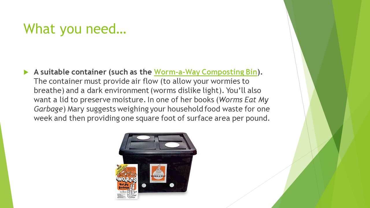 What you need…  A suitable container (such as the Worm-a-Way Composting Bin).