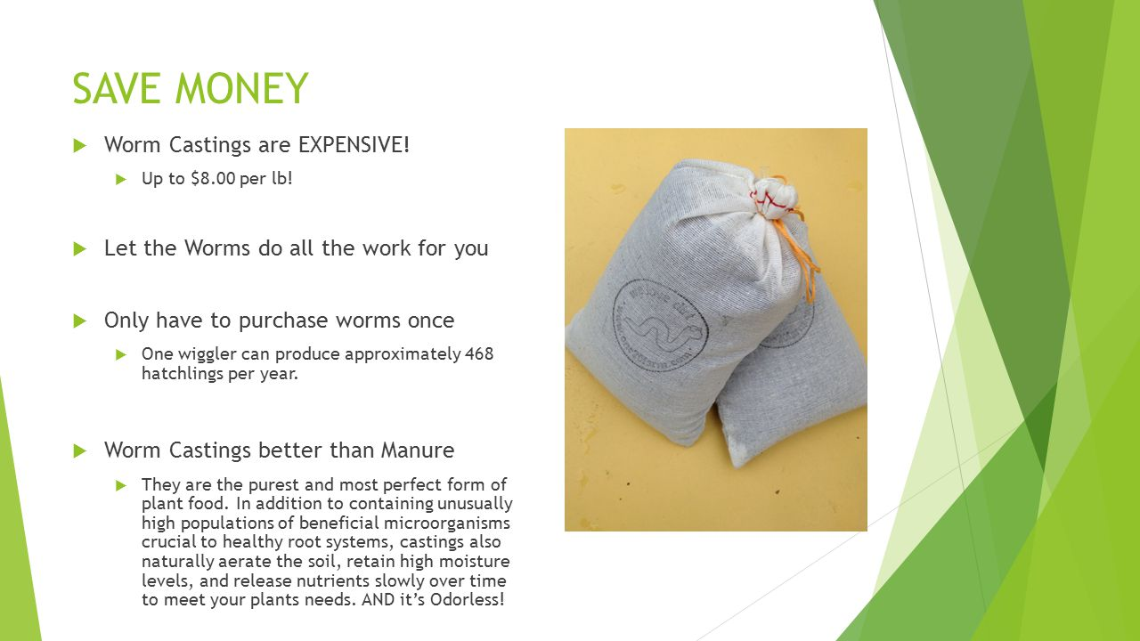 SAVE MONEY  Worm Castings are EXPENSIVE.  Up to $8.00 per lb.