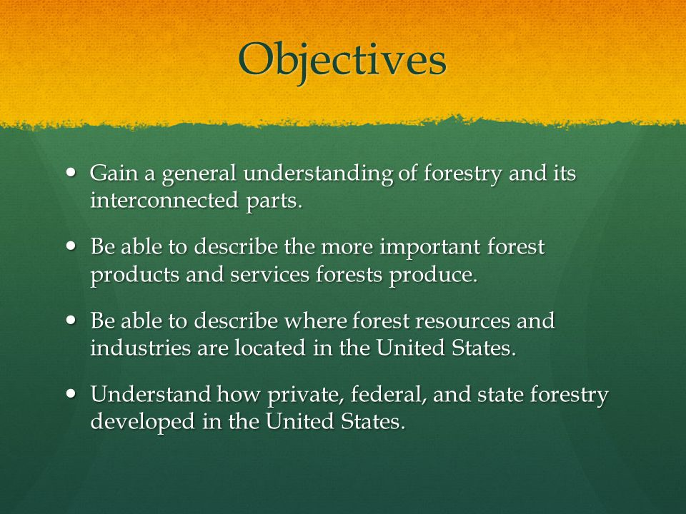 Objectives Gain a general understanding of forestry and its interconnected parts.