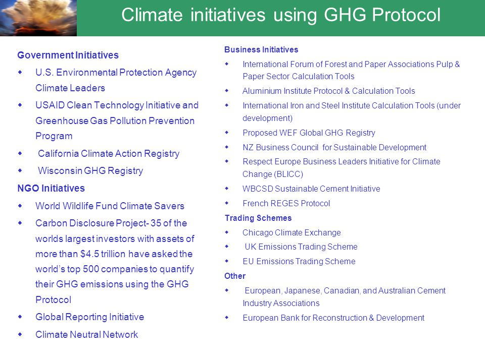 Climate initiatives using GHG Protocol Government Initiatives  U.S.