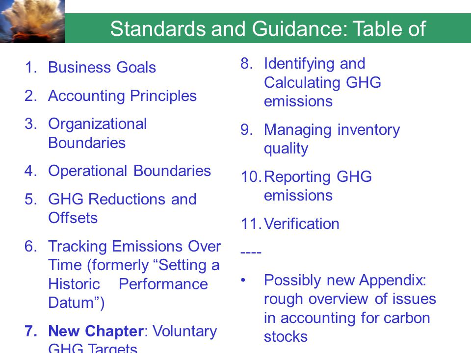 Standards and Guidance: Table of Contents 1.Business Goals 2.Accounting Principles 3.Organizational Boundaries 4.Operational Boundaries 5.GHG Reductions and Offsets 6.Tracking Emissions Over Time (formerly Setting a Historic Performance Datum ) 7.New Chapter: Voluntary GHG Targets 8.Identifying and Calculating GHG emissions 9.Managing inventory quality 10.Reporting GHG emissions 11.Verification ---- Possibly new Appendix: rough overview of issues in accounting for carbon stocks