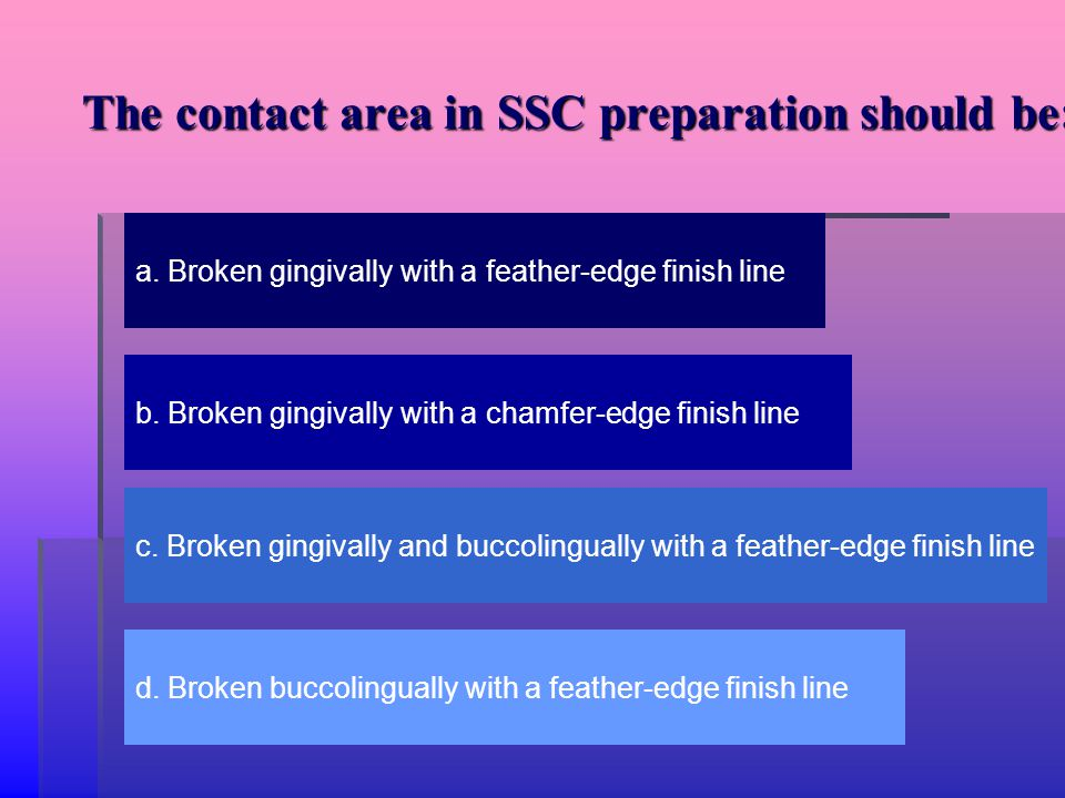 The contact area in SSC preparation should be: a. Broken gingivally with a feather-edge finish line b. Broken gingivally with a chamfer-edge finish li