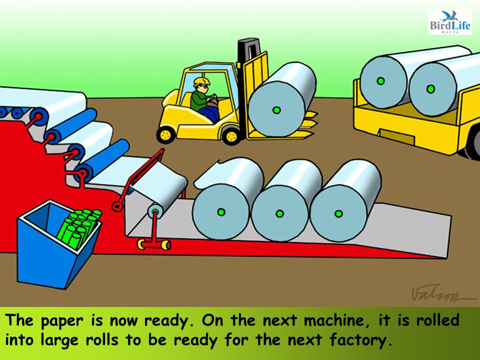 The paper is now ready. On the next machine, it is rolled into large rolls to be ready for the next factory.