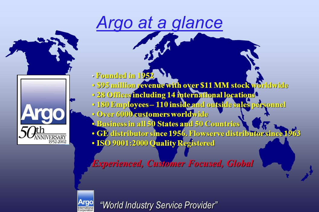 World Industry Service Provider Argo at a glance Founded in 1952 Founded in 1952 $95 million revenue with over $11 MM stock worldwide $95 million revenue with over $11 MM stock worldwide 28 Offices including 14 international locations 28 Offices including 14 international locations 180 Employees – 110 inside and outside sales personnel 180 Employees – 110 inside and outside sales personnel Over 6000 customers worldwide Over 6000 customers worldwide Business in all 50 States and 50 Countries Business in all 50 States and 50 Countries GE distributor since 1956.