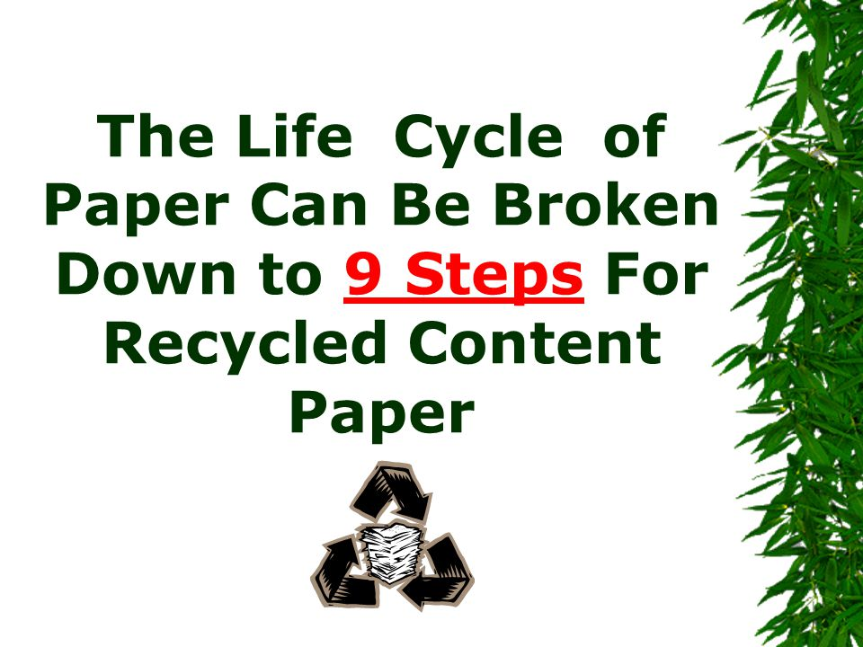 The Life Cycle of Paper Can Be Broken Down to 9 Steps For Recycled Content Paper