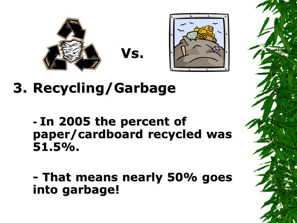 Vs.3.Recycling/Garbage - In 2005 the percent of paper/cardboard recycled was 51.5%.