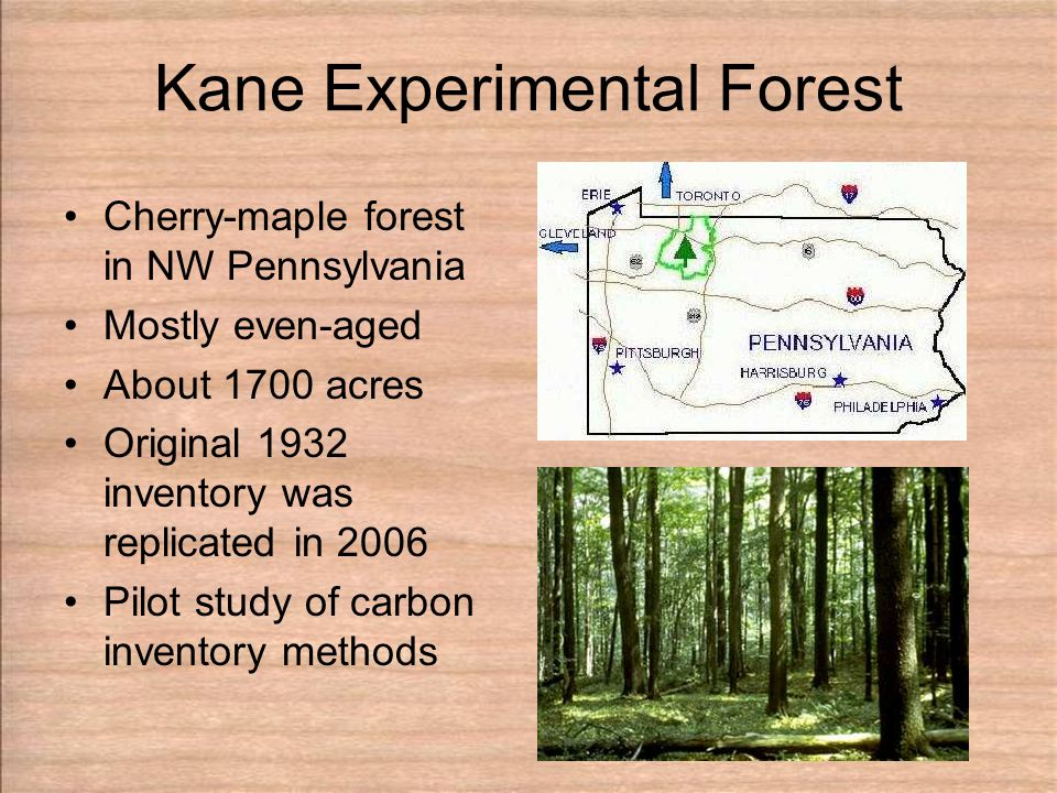 Kane Experimental Forest Cherry-maple forest in NW Pennsylvania Mostly even-aged About 1700 acres Original 1932 inventory was replicated in 2006 Pilot study of carbon inventory methods