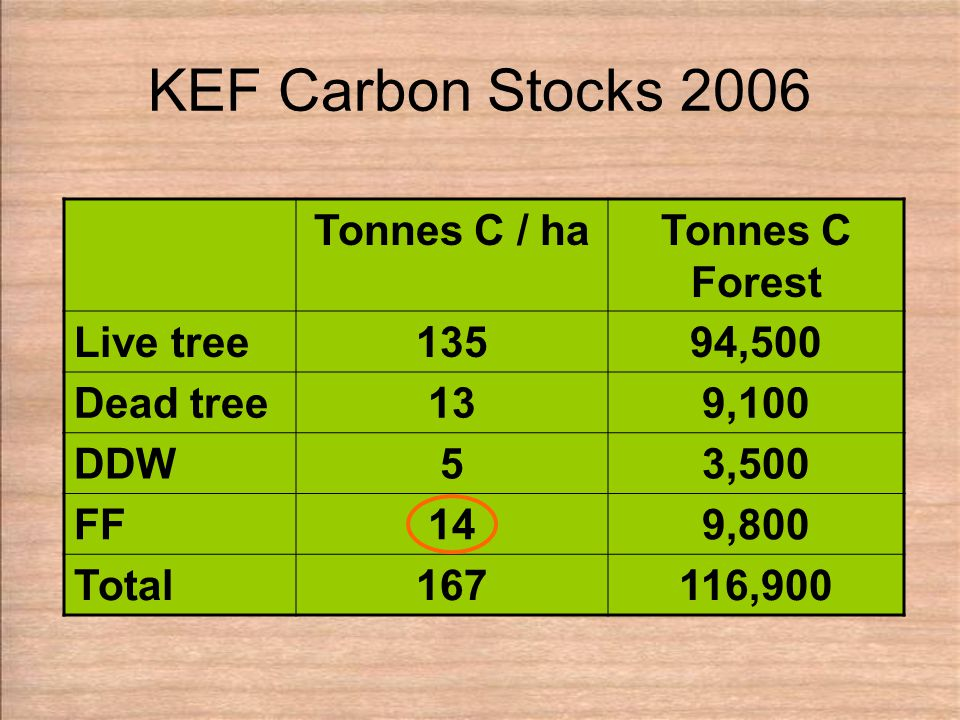 KEF Carbon Stocks 2006 Tonnes C / haTonnes C Forest Live tree13594,500 Dead tree139,100 DDW53,500 FF149,800 Total167116,900